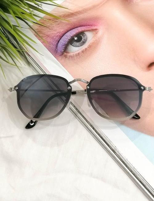 Γυναικεία μαύρα ντεγκραντέ γυαλιά ηλίου με ασημί μεταλλικό σκελετό Luxury S7127L