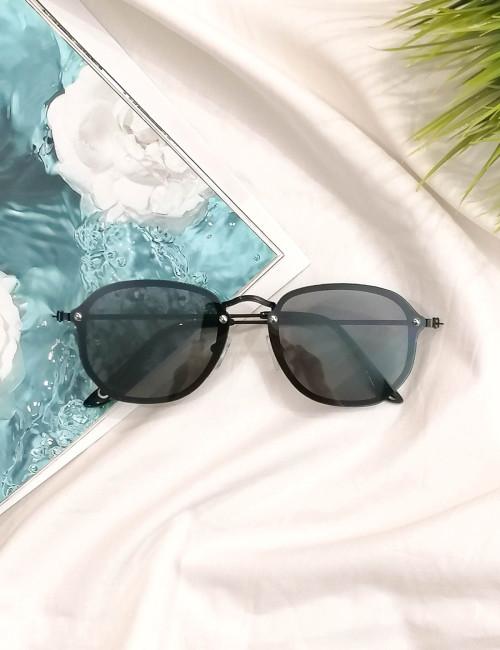 Γυναικεία μαύρα γυαλιά ηλίου με μαύρο μεταλλικό σκελετό Luxury S7127C