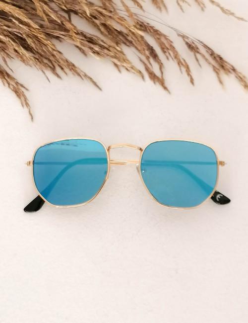 Γυναικεία μπλε πολύγωνα γυαλιά ηλίου καθρέπτης με χρυσό σκελετό Luxury LS3065