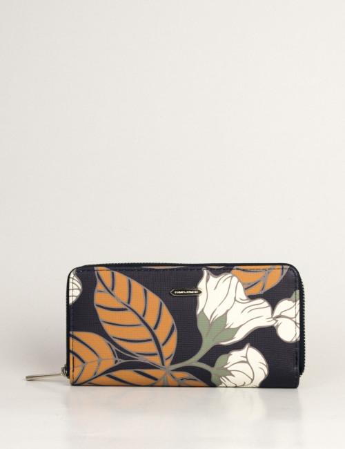 Γυναικείο μπλε πορτοφόλι με φλοράλ σχέδιο P083510L