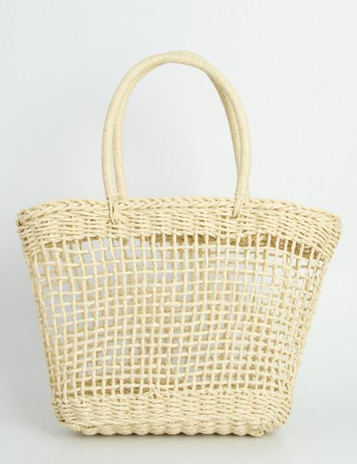 Γυναικεία μπεζ ψάθινη τσάντα τετράγωνη με χειρολαβή 700815