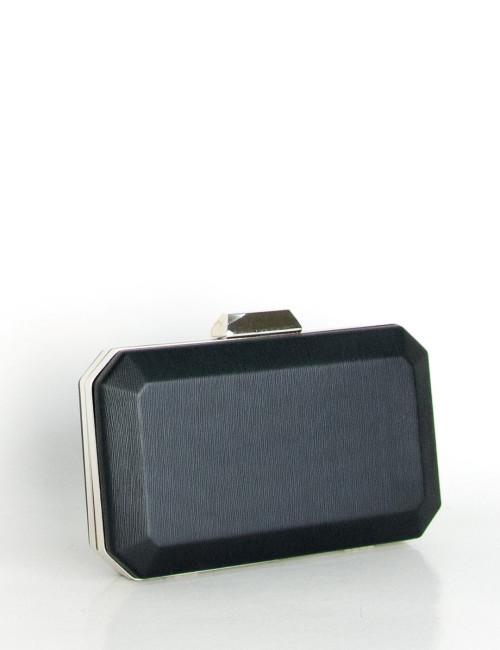 Γυναικείος μαύρος φάκελος Hardcase Clutch ιριδίζον B2063