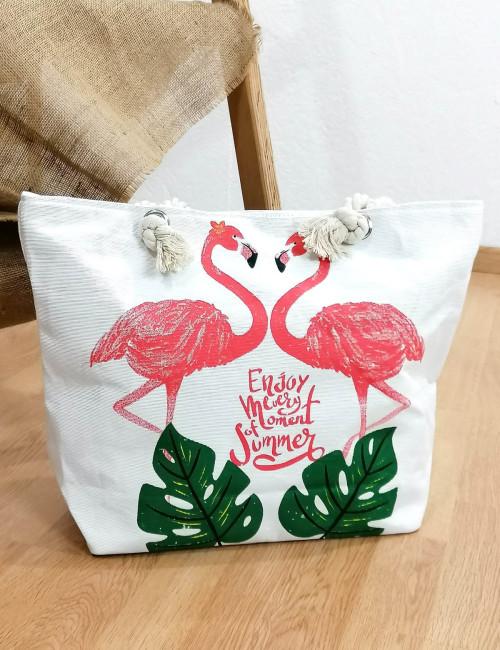 Γυναικεία εκρού τσάντα θαλάσσης με τύπωμα 201908