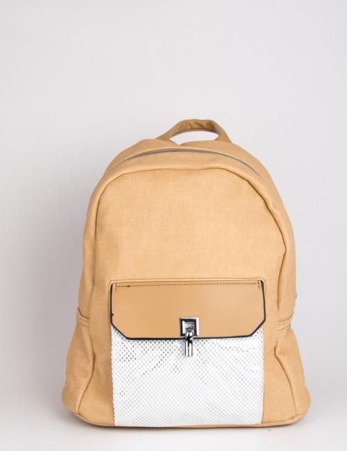 Γυναικείο ροδακινί οβάλ Backpack με σαγρέ σχέδιο 501328W