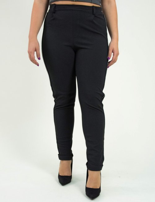 Γυναικείο μαύρο παντελόνι Jogger ψηλόμεσο Honey 41192F