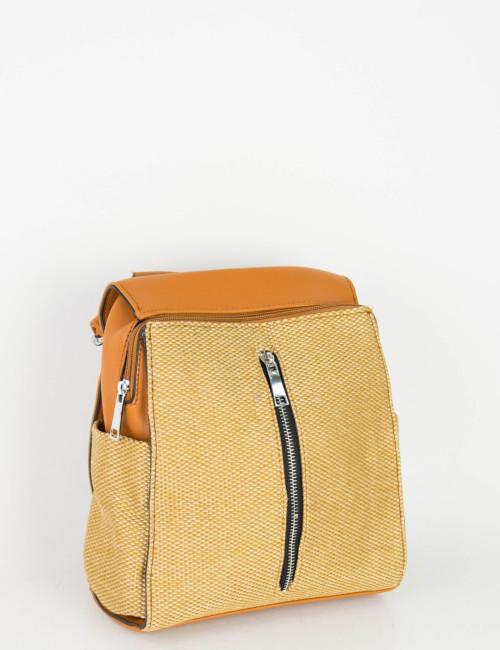 Γυναικείο κάμελ Mini Backpack καφέ υφασμάτινη επένδυση A250