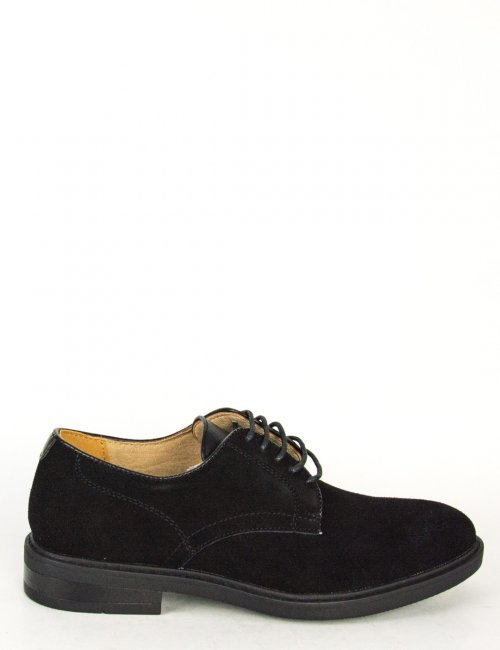 Ανδρικά μαύρα σουέντ δετά παπούτσια με κορδόνια 00A920LG