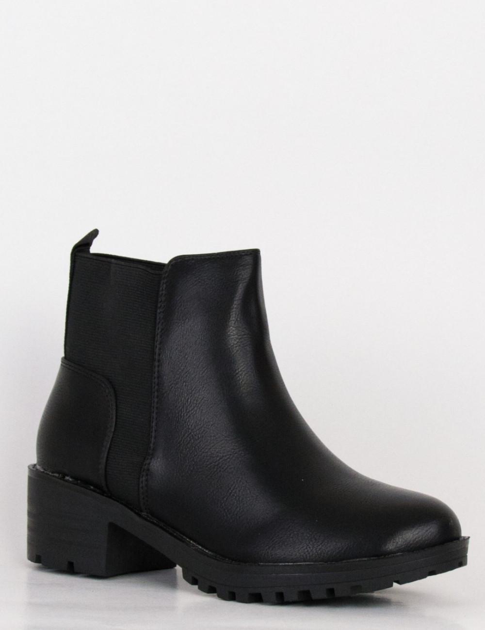 Γυναικεία μαύρα μποτάκια λάστιχο τρακτερωτό τακούνι FD160