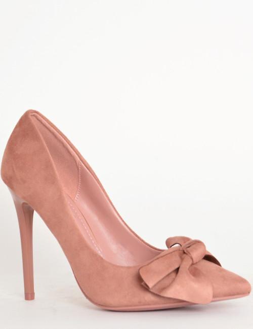 Γυναικείες μυτερές γόβες ροζ με φιόγκο PG353