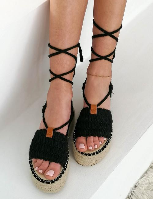 Γυναικείες μαύρες Lace Up εσπαντρίγιες BMO2508W
