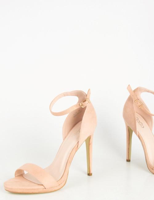 Γυναικεία καστόρινα πέδιλα λουράκι ροζ λεπτό τακούνι D881
