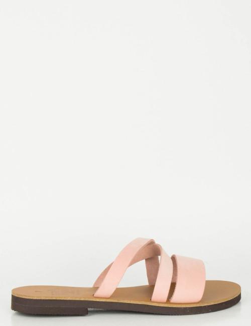 Γυναικεία ροζ Flat πέδιλα λουράκια 041041R
