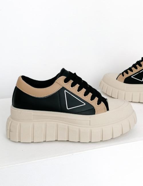 Γυναικεία μαύρα δίσολα Casual Sneakers 412412X
