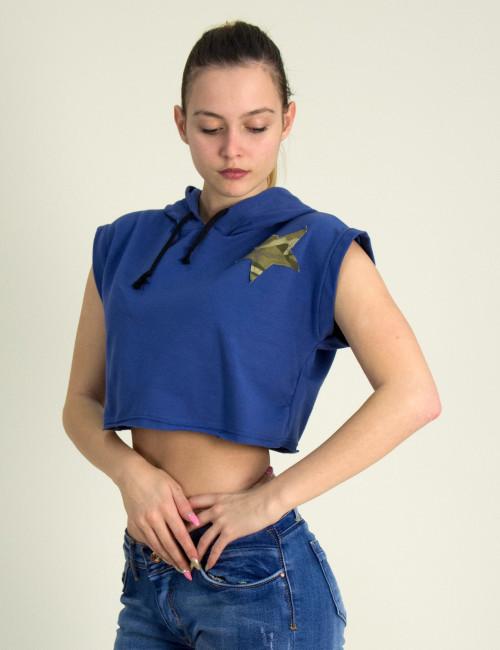 Γυναικείο αμάνικο Crop Top μπλε με κουκούλα 14526F