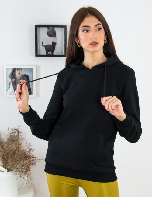 Γυναικείο μαύρο φούτερ αχνούδιαστο με κορδόνι 72500M