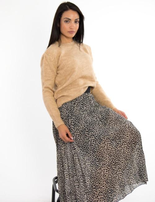 Γυναικείο καμελ πουλόβερ μονόχρωμο BT1529