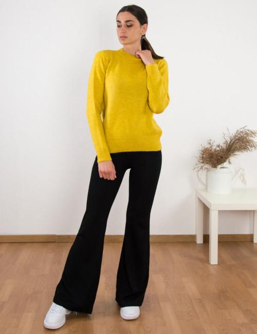 Γυναικείο ώχρα πουλόβερ μονόχρωμο BT1529W