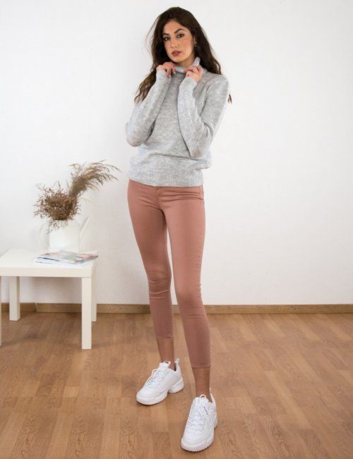 Γυναικείο γκρι πουλόβερ ζιβάγκο BT1510G
