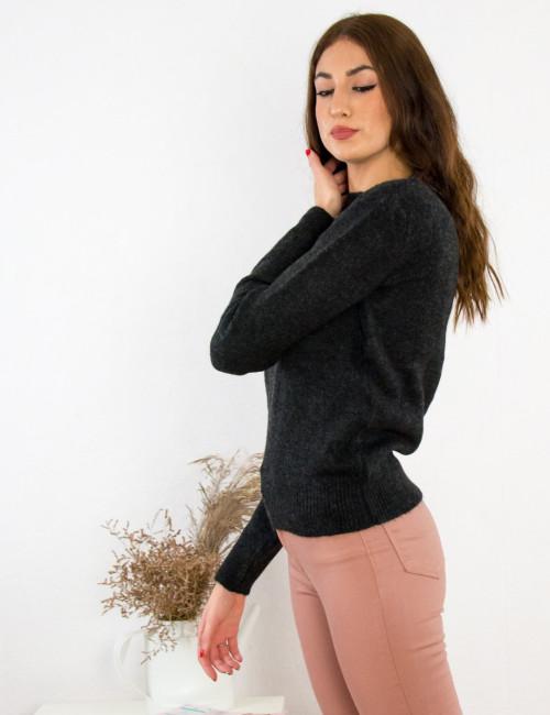 Γυναικείο ανθρακί πουλόβερ μονόχρωμο BT1529C