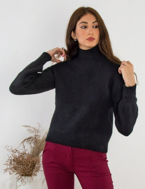 Γυναικείο μαύρο πλεκτό πουλόβερ BT0202D