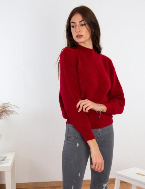 Γυναικείο κόκκινο μάλλινο πουλόβερ Oversized BT1767K