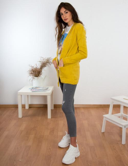 Γυναικεία κίτρινο πλεκτή ζακέτα με τσέπες BT11311C