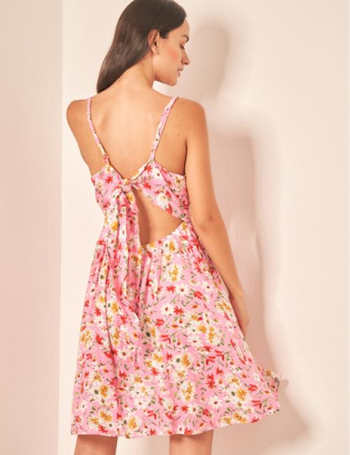Lipsy Γυναικείο ροζ floral φόρεμα 1210626