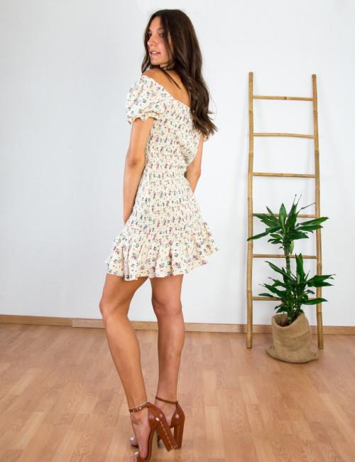 Γυναικείο μπεζ φόρεμα με σφηκοφωλιά E639A