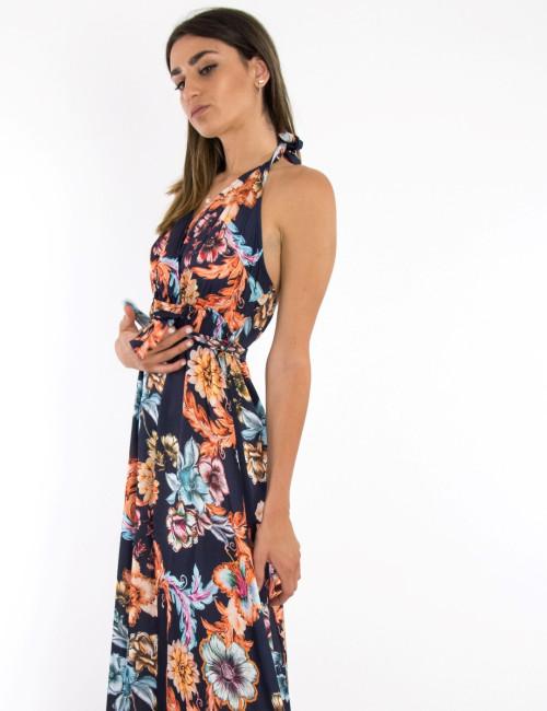 Γυναικείο μπλε floral φόρεμα maxi με δέσιμο 4930R