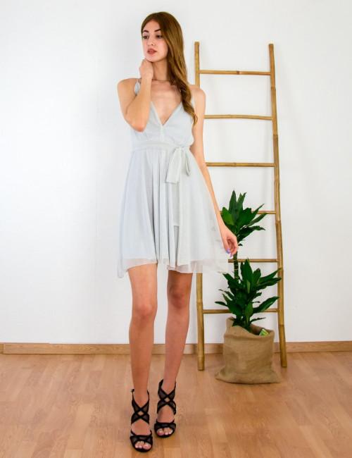 Γυναικείο γκρι κλος φόρεμα γάμου Lurex No Stress 8580228D