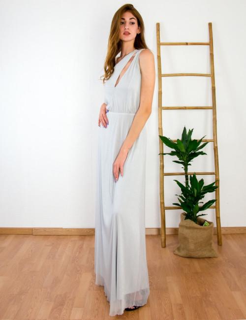 Γυναικείο γκρι maxi φόρεμα γάμου Lurex τούλι No Stress 8575288