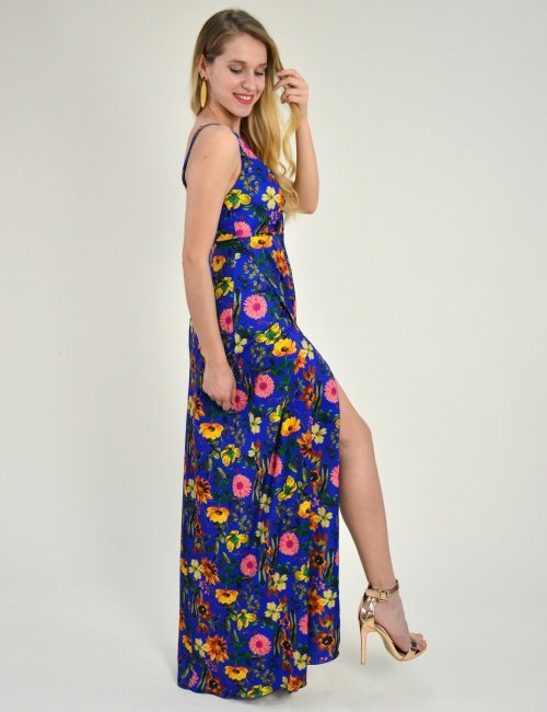 Γυναικείο μάξι φόρεμα κρουαζέ εμπριμέ σκίσιμο  μπλε 8169239Q