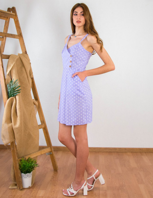 Lipsy γυναικείο λιλά πουά φόρεμα με κουμπιά 1210607A
