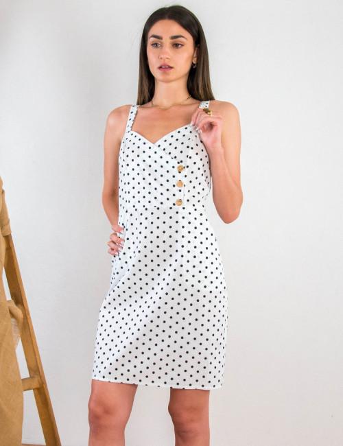 Lipsy γυναικείο λευκό πουά φόρεμα με κουμπιά 1210607
