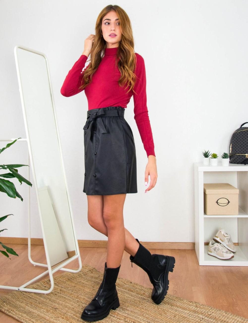 Lipsy γυναικεία μαύρη φούστα δερματίνη 2200402