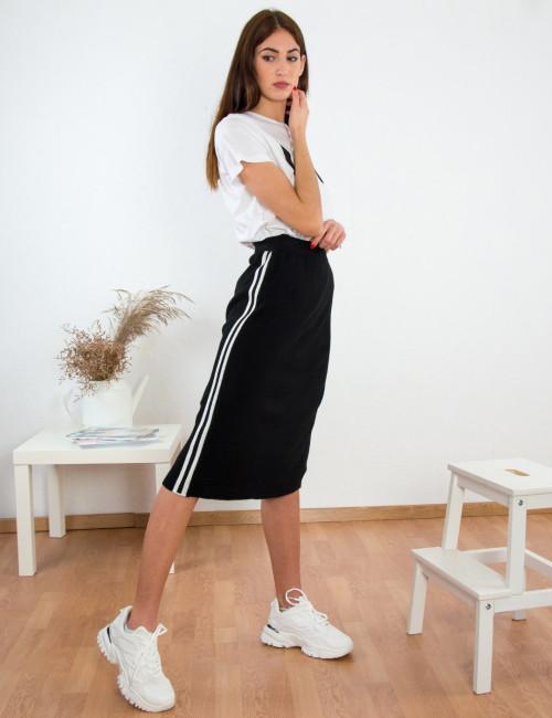 Γυναικεία μαύρη πλεκτή φούστα λευκές ρίγες 18196214