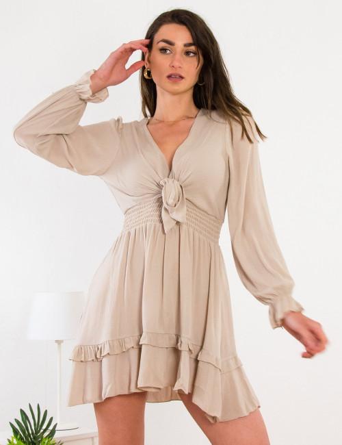 Γυναικείο μπεζ φόρεμα 21749B