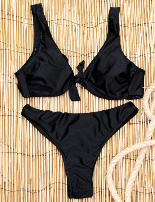 Γυναικείο μαύρο Bikini μαγιό με κόμπο στο στήθος Brazil 385261