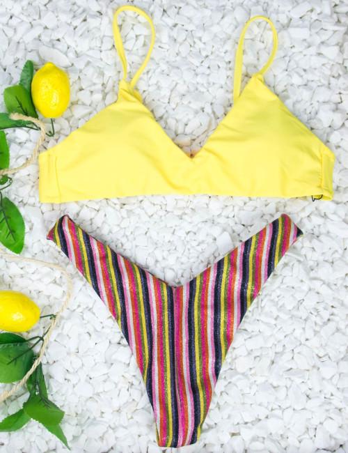 Γυναικείο κίτρινο μπικίνι ριγέ lurex SE89171Y