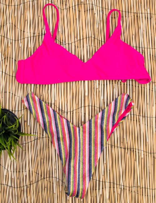 Γυναικείο φούξια μπικίνι ριγέ lurex SE89171F