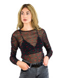 Lipsy γυναικεία μαύρη τούλινη μπλούζα 2200028