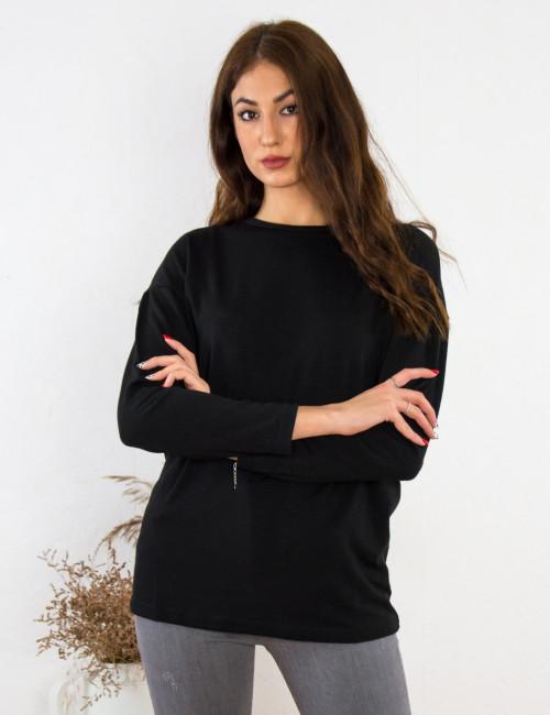 Γυναικεία μαύρη μακρυμάνικη μπλούζα Oversize BT6152L