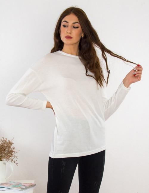 Γυναικεία εκρού μακρυμάνικη μπλούζα Oversize BT6152