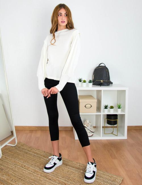 Lipsy γυναικεία εκρού κρουαζέ ριπ μπλούζα με λουπέτο 2200061T