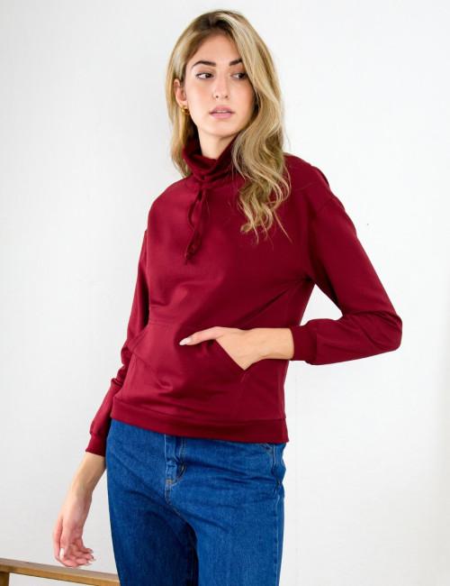 Lipsy γυναικεία μπορντό μπλούζα φούτερ με λαιμό 2200062
