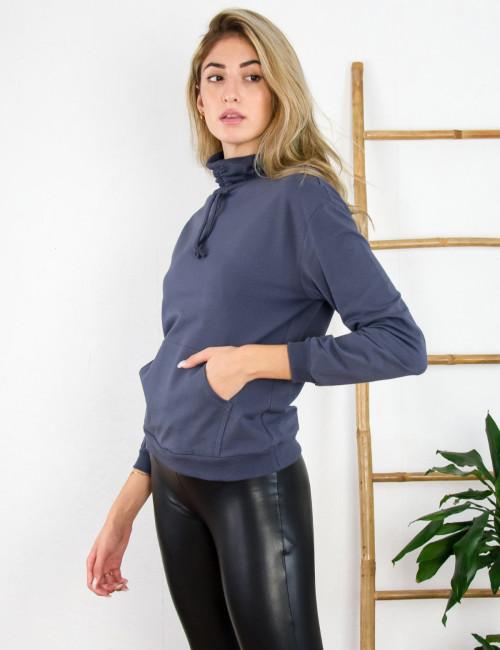 Lipsy γυναικεία ανθρακί μπλούζα φούτερ με λαιμό 2200062K