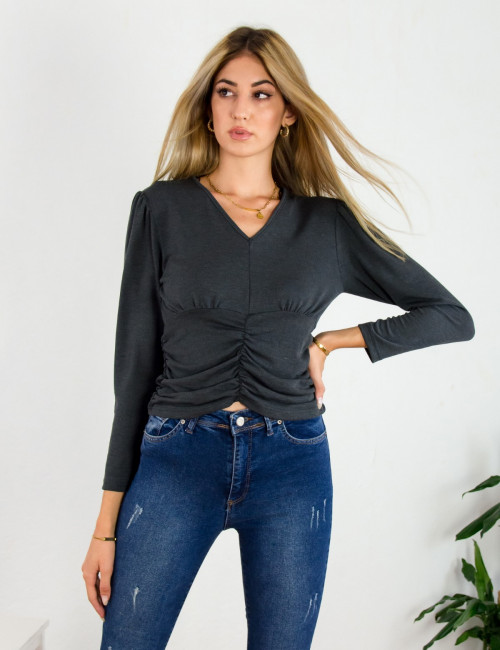 Lipsy γυναικεία ανθρακί μπλούζα με σούρα 2200044Q