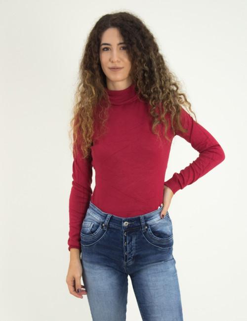 Γυναικείο κόκκινο πουλόβερ ζιβάγκο μονόχρωμο MX3009D