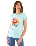 Γυναικείο γαλάζιο βαμβακερό Tshirt με τύπωμα 210431D