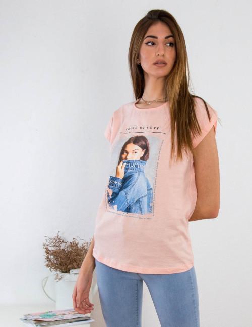 Γυναικείο ροζ βαμβακερό Tshirt με τύπωμα 210423W